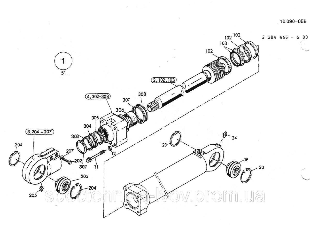 2532295 Ремкомплект гидроцилиндра рукояти O&K (Orenstein & Koppel) MH Plus
