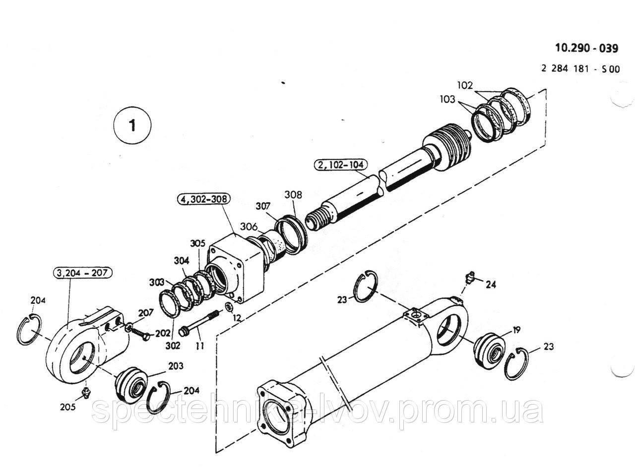 2532109 Ремкомплект гидроцилиндра отвала O&K (Orenstein & Koppel) MH Plus