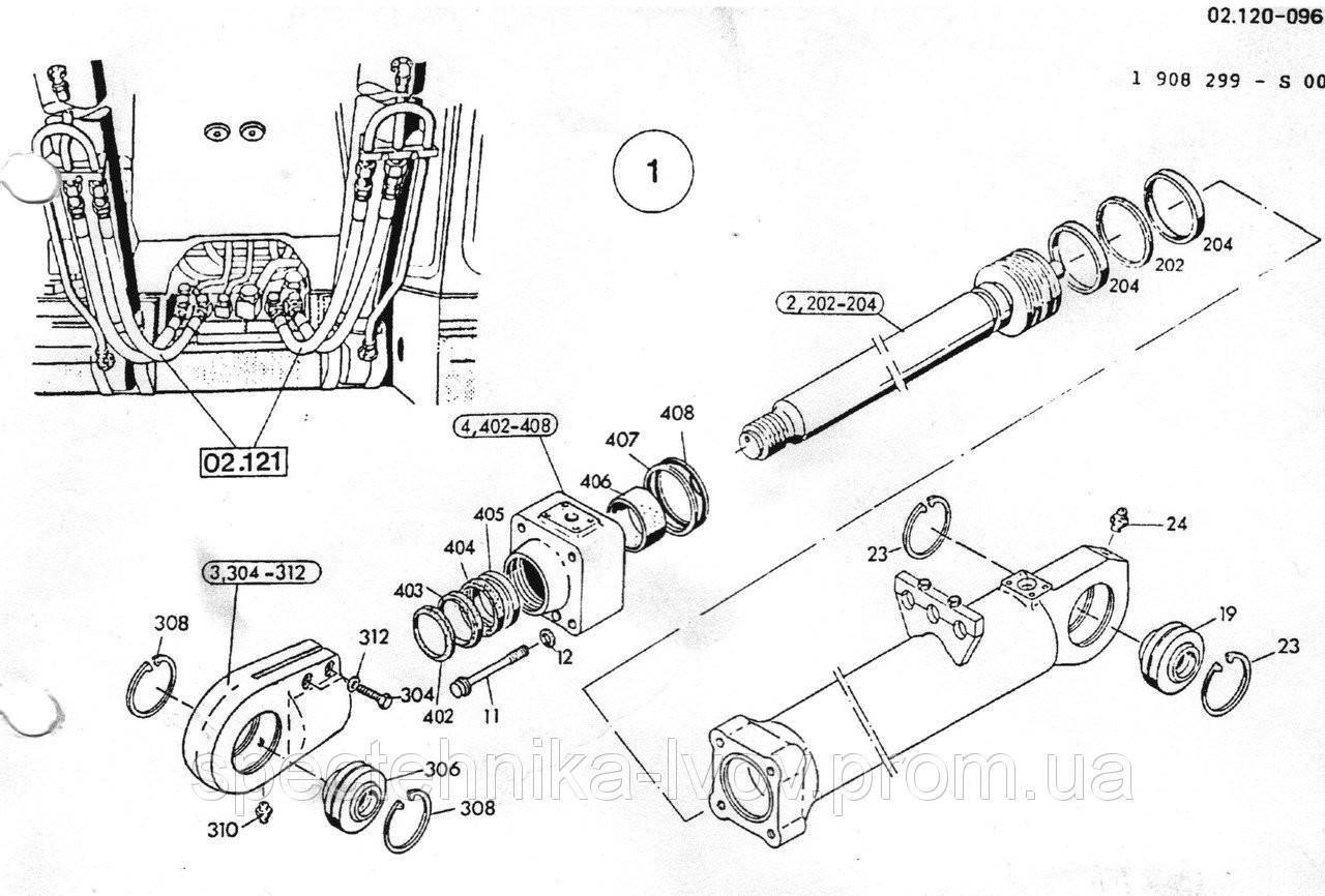 1590956 Ремкомплект гидроцилиндра подъема стрелы O&K (Orenstein & Koppel) MH CITY