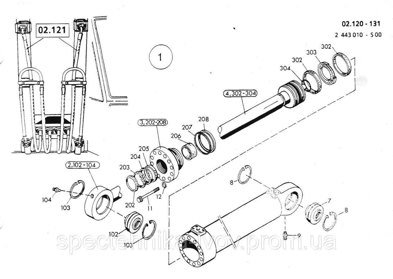 1590961 Ремкомплект гидроцилиндра подъема стрелы O&K (Orenstein & Koppel) MH 6
