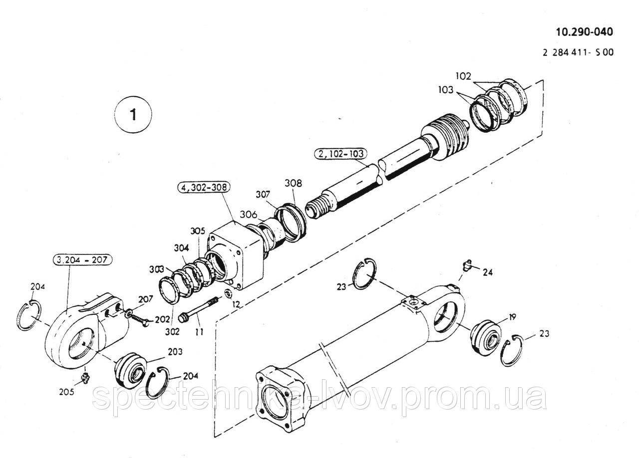 1590960 Ремкомплект гидроцилиндра отвала O&K (Orenstein & Koppel) MH 6