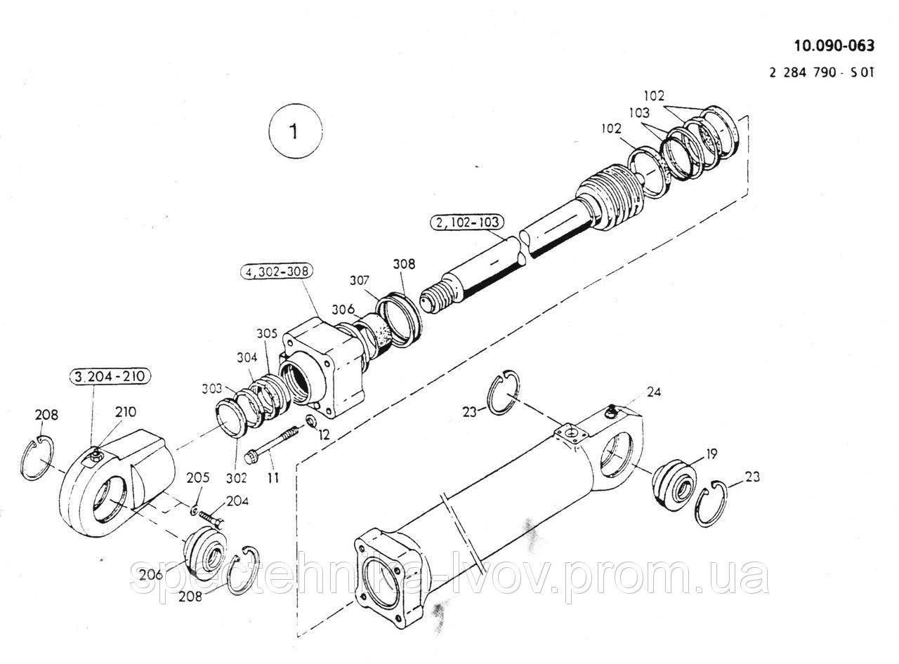 1590962 Ремкомплект гидроцилиндра излома стрелы O&K (Orenstein & Koppel) MH CITY