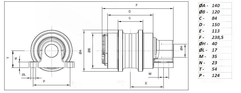 Каток поддерживающий (верхний) Carrier roller Liebherr R902 R904 R912 (5610810)