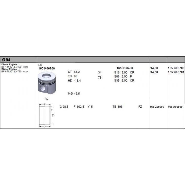 Поршень Deutz/Дойц 1012 94 мм - STD (04255043) - BF 10050089792BF