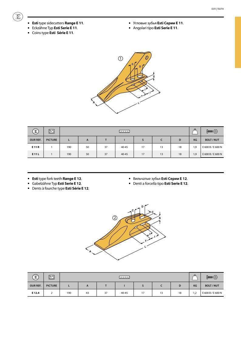 Зуб ковша миниэкскаватора правый (E11R)