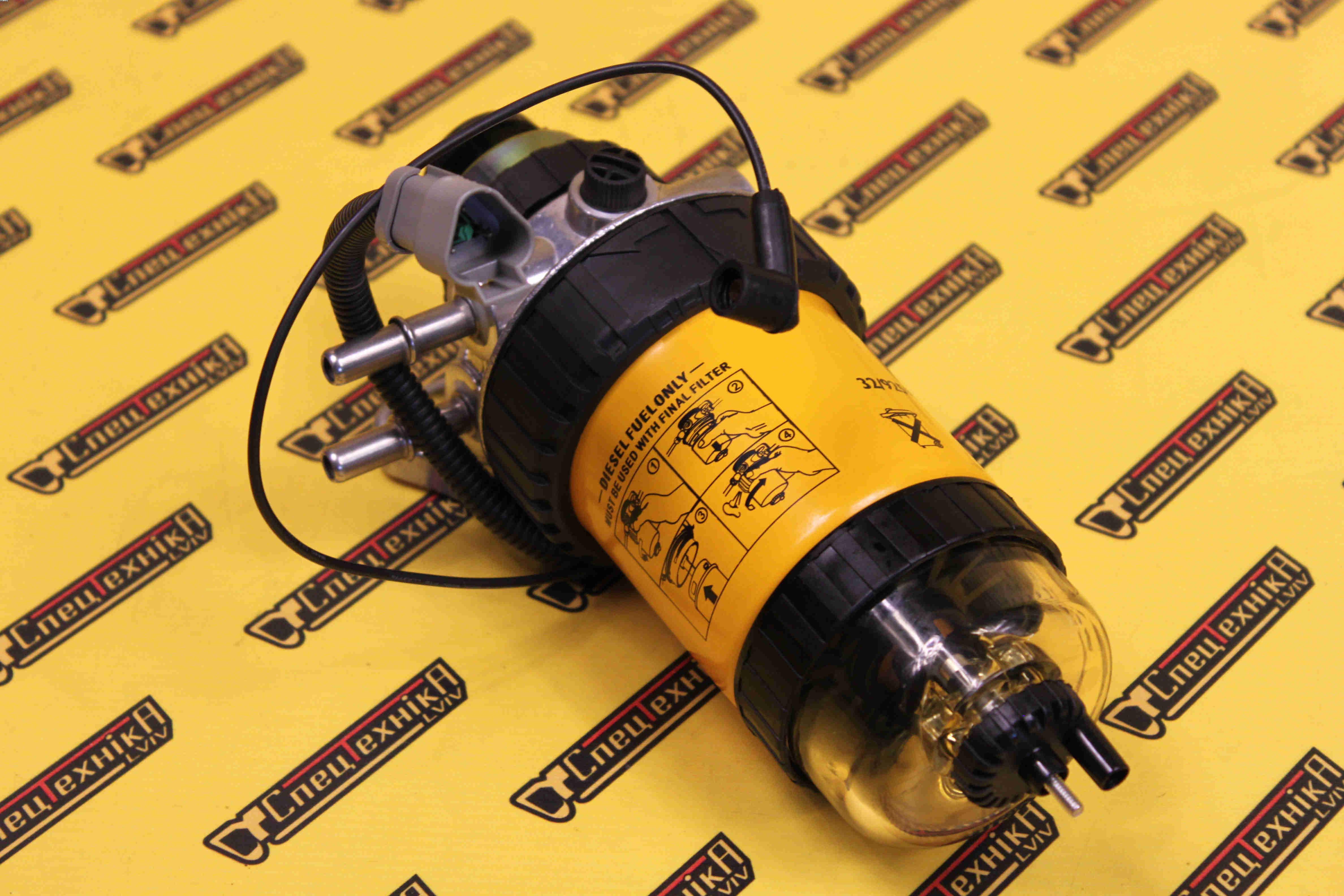 Топливный насос подкачки топлива, сепаратор + колба JCB (32/925914, 32-925914, 32925914)