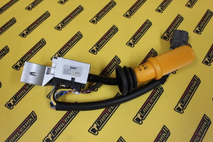 Переключатель поворотов/щетки JCB 3CX, 4CX до 2001 желтый (701/37702, 701-37702, 70137702) - VALEO