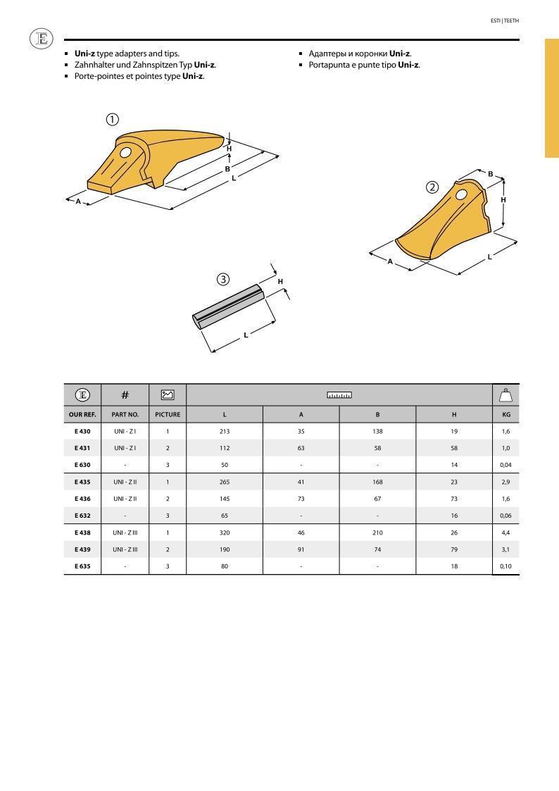 Палец зуба ковша UNI-Z 2 (UNI Z-2) 16*65